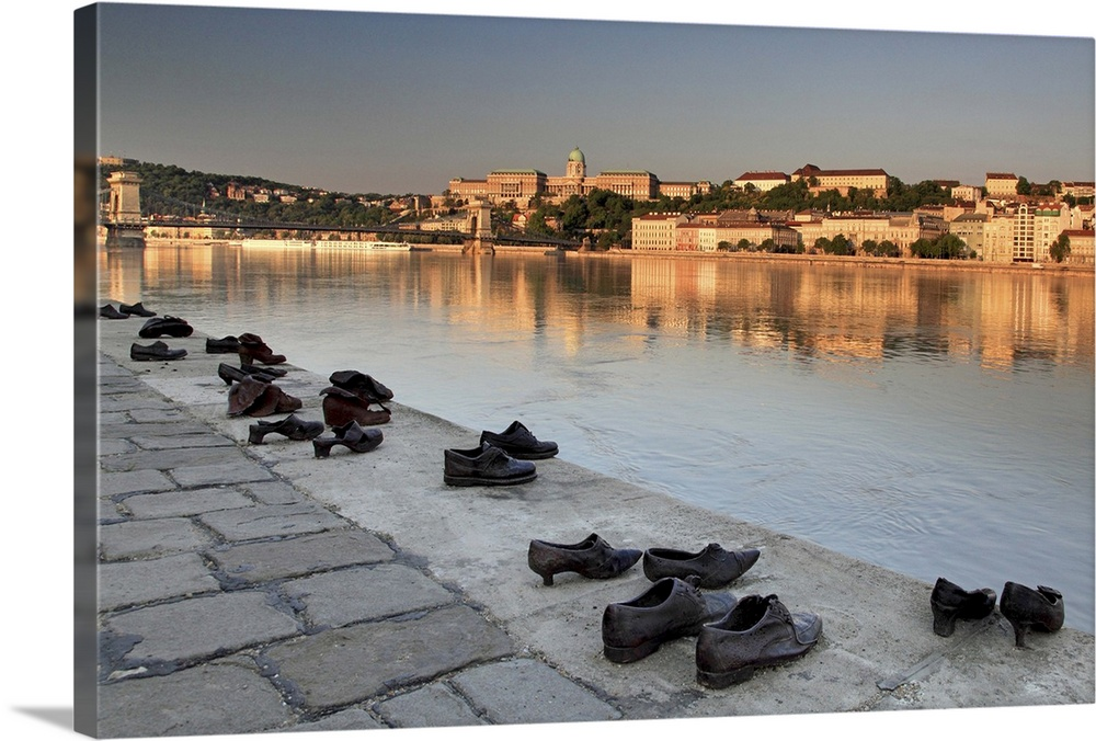 Large Solid-Faced Canvas Print Wall Art Print 30 x 20 entitled Hungary, Budapest, Danube, Shoes on the Danube Promenade me... Solid-Faced Canvas Print entitled Hungary, Budapest, Danube, Shoes on the Danube Promenade memorial.  Hungary, Budapest, Budapest, Danube, Donau, Shoes on the Danube Promenade memorial.  Multiple sizes available.  Primary colors within this image include Peach, Black, Gray.  Made in USA.  Satisfaction guaranteed.  Archival-quality UV-resistant inks.  Canvas depth is 1.25 and includes a finished backing with pre-installed hanging hardware.  Archival inks prevent fading and preserve as much fine detail as possible with no over-saturation or color shifting.
