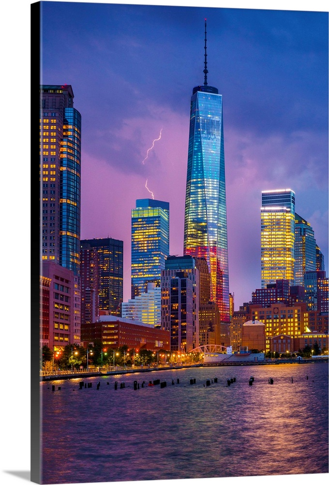 Large Solid-Faced Canvas Print Wall Art Print 24 x 36 entitled New York City, Hudson, Manhattan, One World Trade Center, F... Solid-Faced Canvas Print entitled New York City, Hudson, Manhattan, One World Trade Center, Freedom Tower.  USA, New York City, Hudson, Manhattan, Lower Manhattan, One World Trade Center, Freedom Tower.  Multiple sizes available.  Primary colors within this image include Brown, Dark Blue, Light Yellow, Dark Forest Green.  Made in USA.  Satisfaction guaranteed.  Archival-quality UV-resistant inks.  Featuring a proprietary design, our canvases produce the tightest corners without any bubbles, ripples, or bumps and will not warp or sag over time.  Archival inks prevent fading and preserve as much fine detail as possible with no over-saturation or color shifting.