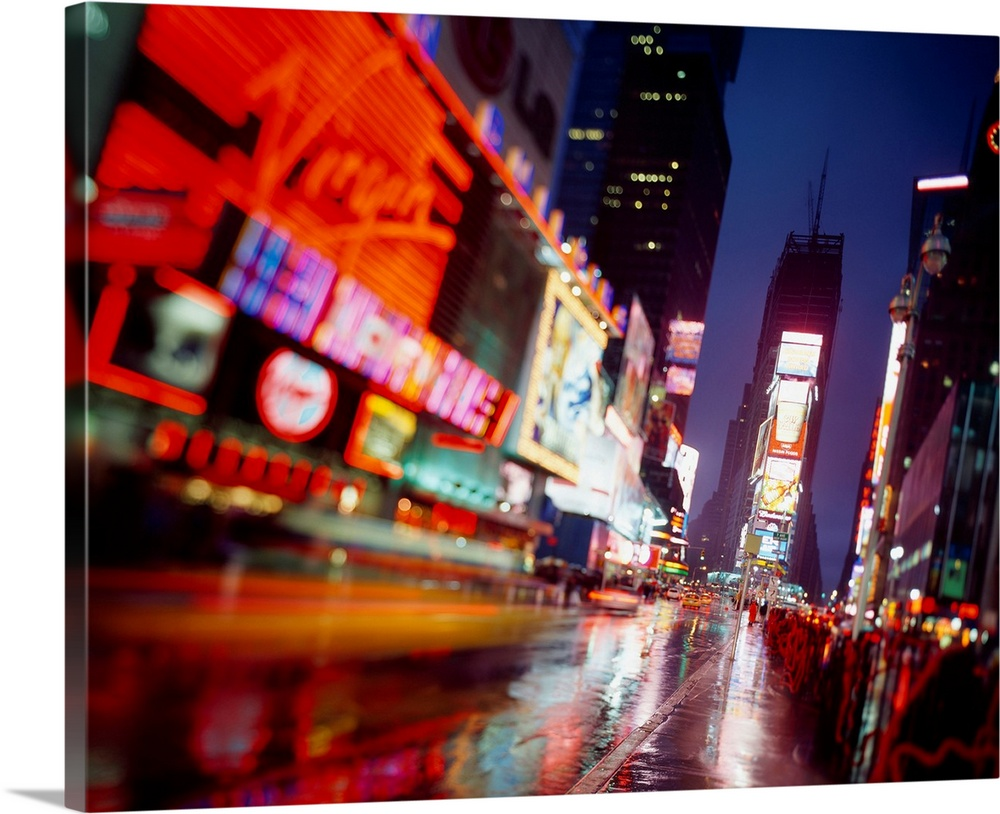 Large Solid-Faced Canvas Print Wall Art Print 30 x 24 entitled New York City, Times square Solid-Faced Canvas Print entitled New York City, Times square.  Multiple sizes available.  Primary colors within this image include Red, Yellow, Dark Red, Black.  Made in the USA.  Satisfaction guaranteed.  Archival-quality UV-resistant inks.  Canvas is handcrafted and made-to-order in the United States using high quality artist-grade canvas.  Featuring a proprietary design, our canvases produce the tightest corners without any bubbles, ripples, or bumps and will not warp or sag over time.