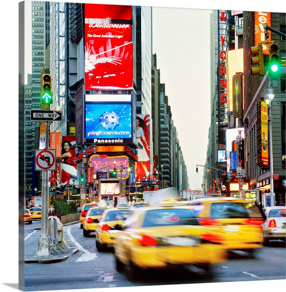 Large Solid-Faced Canvas Print Wall Art Print 20 x 20 entitled NY, NYC, Times Square, Manhattan, Broadway Avenue and Times... Solid-Faced Canvas Print entitled NY, NYC, Times Square, Manhattan, Broadway Avenue and Times Square.  United States, USA, New York State, New York City, Times Square, Manhattan, Travel Destination, Broadway Avenue and Times Square.  Multiple sizes available.  Primary colors within this image include Red, Pink, Black, Royal Blue.  Made in USA.  Satisfaction guaranteed.  Inks used are latex-based and designed to last.  Featuring a proprietary design, our canvases produce the tightest corners without any bubbles, ripples, or bumps and will not warp or sag over time.  Archival inks prevent fading and preserve as much fine detail as possible with no over-saturation or color shifting.