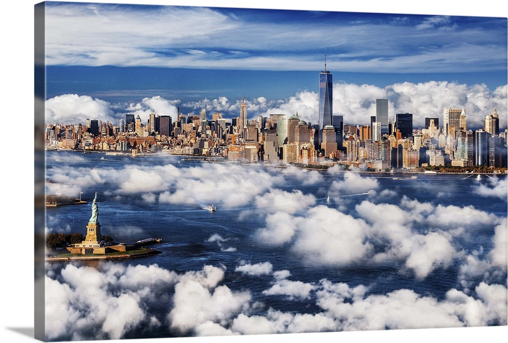Large Solid-Faced Canvas Print Wall Art Print 36 x 24 entitled NYC, Manhattan skyline with Freedom Tower and the Statue of... Solid-Faced Canvas Print entitled NYC, Manhattan skyline with Freedom Tower and the Statue of Liberty.  USA, New York City, Manhattan, Lower Manhattan, Manhattan skyline with Freedom Tower and the Statue of Liberty.  Multiple sizes available.  Primary colors within this image include Black, Gray, Silver, Gray Blue.  Made in USA.  All products come with a 365 day workmanship guarantee.  Archival-quality UV-resistant inks.  Canvas depth is 1.25 and includes a finished backing with pre-installed hanging hardware.  Archival inks prevent fading and preserve as much fine detail as possible with no over-saturation or color shifting.