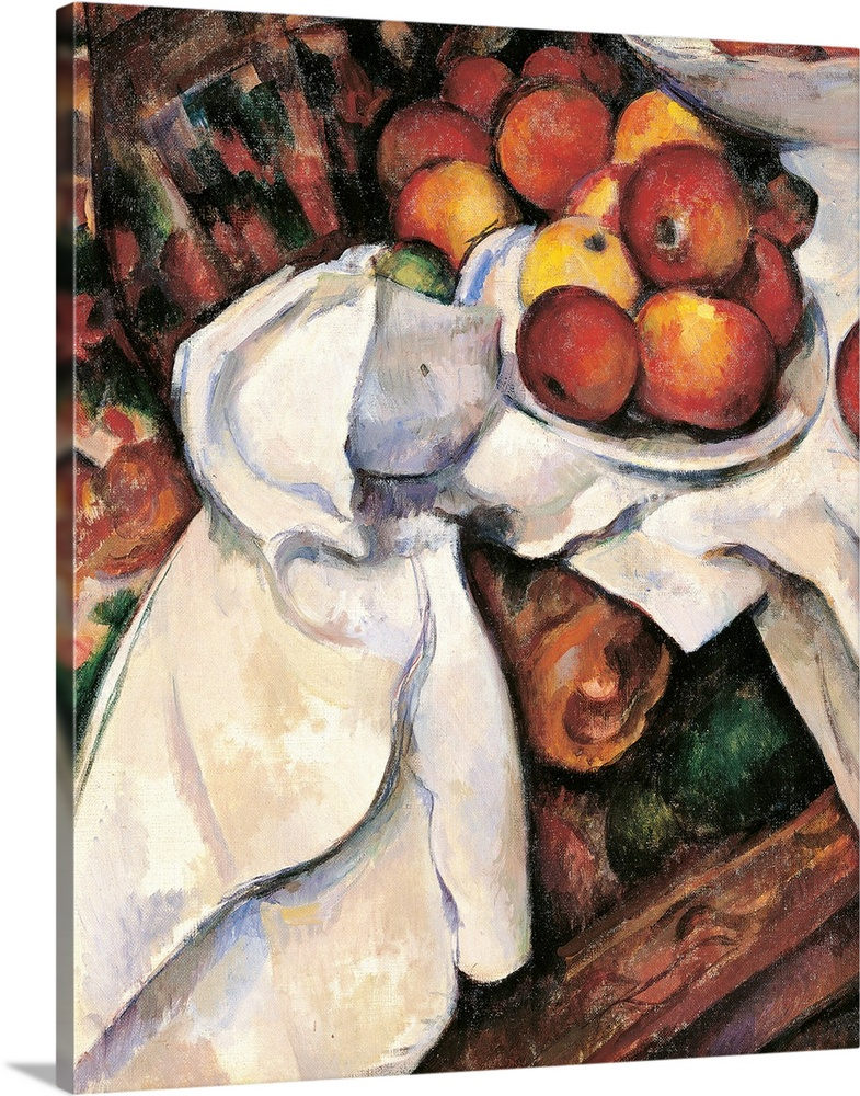 Large Solid-Faced Canvas Print Wall Art Print 24 x 30 entitled Apples and Oranges, by Paul Cezanne, 1895-1900.  Musee d'Or... Solid-Faced Canvas Print entitled Apples and Oranges, by Paul Cezanne, 1895-1900.  Musee dOrsay, Paris, France. Detail.  Apples and Oranges, by Paul Czanne, 1895 - 1900, 19th Century, oil on canvas, cm 61 x 50 - France, Ile de France, Paris, Muse dOrsay, R.F. 1972. Detail. Apples oranges orange table cloth brown dish. 235887 Everett CollectionMondadori Portfolio.  Multiple sizes available.  Primary colors within this image include Pink, Peach, Black, White.  Made in the USA.  All products come with a 365 day workmanship guarantee.  Archival-quality UV-resistant inks.  Archival inks prevent fading and preserve as much fine detail as possible with no over-saturation or color shifting.  Featuring a proprietary design, our canvases produce the tightest corners without any bubbles, ripples, or bumps and will not warp or sag over time.