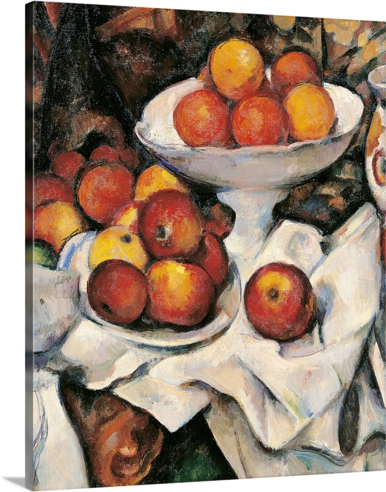 Large Gallery-Wrapped Canvas Wall Art Print 16 x 20 entitled Apples and Oranges, by Paul Cezanne, 1895-1900.  Musee d'Orsa... Gallery-Wrapped Canvas entitled Apples and Oranges, by Paul Cezanne, 1895-1900.  Musee dOrsay, Paris, France. Detail.  Apples and Oranges, by Paul Czanne, 1895 - 1900, 19th Century, oil on canvas, cm 61 x 50 - France, Ile de France, Paris, Muse dOrsay, R.F. 1972. Detail. Apples oranges orange brown table cloth fruit dish fruit bowl. 235888 Everett CollectionMondadori P.  Multiple sizes available.  Primary colors within this image include Brown, Peach, Black, Light Gray.  Made in the USA.  All products come with a 365 day workmanship guarantee.  Archival-quality UV-resistant inks.  Canvases are stretched across a 1.5 inch thick wooden frame with easy-to-mount hanging hardware.  Canvas is a 65 polyester, 35 cotton base, with two acrylic latex primer basecoats and a semi-gloss inkjet receptive topcoat.