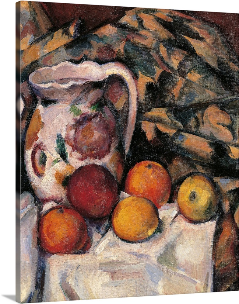 Large Gallery-Wrapped Canvas Wall Art Print 16 x 20 entitled Apples and Oranges, by Paul Cezanne, 1895-1900.  Musee d'Orsa... Gallery-Wrapped Canvas entitled Apples and Oranges, by Paul Cezanne, 1895-1900.  Musee dOrsay, Paris, France. Detail.  Apples and Oranges, by Paul Czanne, 1895 - 1900, 19th Century, oil on canvas, cm 61 x 50 - France, Ile de France, Paris, Muse dOrsay, R.F. 1972. Detail. Apples oranges table table cloth orange brown jug. 235889 Everett CollectionMondadori Portfolio.  Multiple sizes available.  Primary colors within this image include Orange, Black, Gray, White.  Made in the USA.  All products come with a 365 day workmanship guarantee.  Inks used are latex-based and designed to last.  Canvas frames are built with farmed or reclaimed domestic pine or poplar wood.  Canvases have a UVB protection built in to protect against fading and moisture and are designed to last for over 100 years.