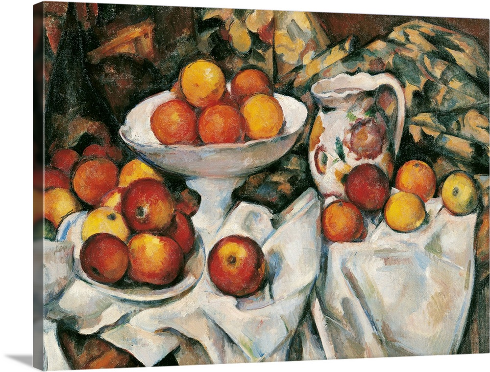 Large Gallery-Wrapped Canvas Wall Art Print 24 x 18 entitled Apples And Oranges, By Paul Cezanne, Ca. 1895-1900. Paris, Fr... Gallery-Wrapped Canvas entitled Apples And Oranges, By Paul Cezanne, Ca. 1895-1900. Paris, France.  Apples and Oranges, by Paul Czanne, 1895 - 1900, 19th Century, oil on canvas, cm 61 x 50 - France, Ile de France, Paris, Muse dOrsay, R.F. 1972. Detail. Apples oranges table table cloth orange brown pot jug. 110115 Everett CollectionMondadori Portfolio.  Multiple sizes available.  Primary colors within this image include Orange, Dark Red, Black, Light Gray.  Made in the USA.  Satisfaction guaranteed.  Archival-quality UV-resistant inks.  Canvases have a UVB protection built in to protect against fading and moisture and are designed to last for over 100 years.  Museum-quality, artist-grade canvas mounted on sturdy wooden stretcher bars 1.5 thick.  Comes ready to hang.