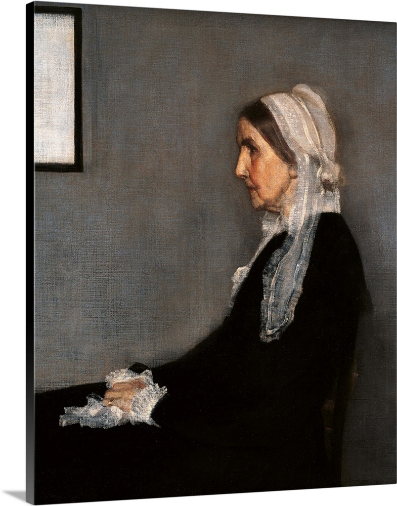 Large Gallery-Wrapped Canvas Wall Art Print 16 x 20 entitled Arrangement In Gray And Black No. 1 (Whistler'S Mother), 1871... Gallery-Wrapped Canvas entitled Arrangement In Gray And Black No. 1 WhistlerS Mother 1871. Paris.  Arrangement in Gray and Black No. 1 Portrait of the Painters Mother by Unknown Artist 1871 19th Century oil on canvas cm 1443 x 1625 - France Ile de France Paris Muse dOrsay. Detail. Arrangement grey black no. 1 mother room profile. 110018 E.  Multiple sizes available.  Primary colors within this image include Peach Black Gray Silver.  Made in USA.  Satisfaction guaranteed.  Inks used are latex-based and designed to last.  Canvases have a UVB protection built in to protect against fading and moisture and are designed to last for over 100 years.  Canvas is a 65 polyester 35 cotton base with two acrylic latex primer basecoats and a semi-gloss inkjet receptive topcoat.