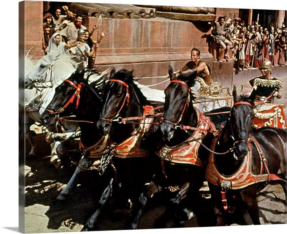 Large Solid-Faced Canvas Print Wall Art Print 30 x 24 entitled Ben-Hur, Charlton Heston, Stephen Boyd Solid-Faced Canvas Print entitled Ben-Hur, Charlton Heston, Stephen Boyd.  For further information contact the Press Office..Sarah Gibb 0171 478 1117.Robert Willington 0171 478 1233....2000 TBS, Inc. All Rights Reserved..A Time Warner Company.  Multiple sizes available.  Primary colors within this image include Red, Peach, Light Gray, Dark Forest Green.  Made in USA.  All products come with a 365 day workmanship guarantee.  Archival-quality UV-resistant inks.  Canvas is handcrafted and made-to-order in the United States using high quality artist-grade canvas.  Featuring a proprietary design, our canvases produce the tightest corners without any bubbles, ripples, or bumps and will not warp or sag over time.
