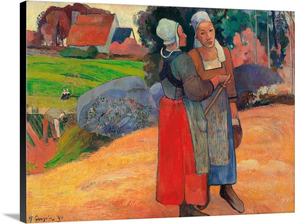 Large Gallery-Wrapped Canvas Wall Art Print 24 x 17 entitled Breton Peasant Women, by Paul Gauguin, 1894. Musee d'Orsay, P... Gallery-Wrapped Canvas entitled Breton Peasant Women by Paul Gauguin 1894. Musee dOrsay Paris France.  Breton Peasant Women by Paul Gauguin 1894 19th Century oil on canvas cm 66 x 925 - France Ile de France Paris Muse dOrsay RF1973-17. All. Breton peasant women houses green red orange women brown bush trees apron bonnet skirt. 252226 Everett Co.  Multiple sizes available.  Primary colors within this image include Dark Red Forest Green Peach Gray.  Made in USA.  Satisfaction guaranteed.  Archival-quality UV-resistant inks.  Canvas is acid-free and 20 millimeters thick.  Canvases have a UVB protection built in to protect against fading and moisture and are designed to last for over 100 years.