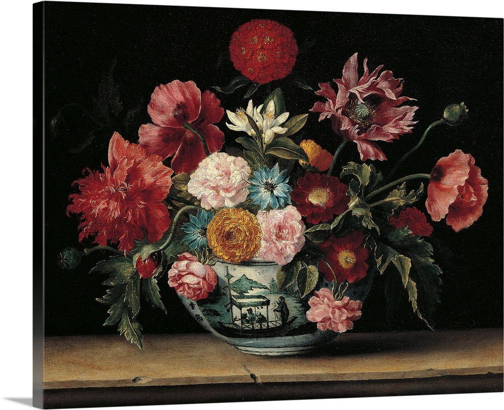 Large Solid-Faced Canvas Print Wall Art Print 30 x 24 entitled Chinese Cup with Flowers, by Jacques Linard, 1640. Thyssen-... Solid-Faced Canvas Print entitled Chinese Cup with Flowers, by Jacques Linard, 1640. Thyssen-Bornemisza Collection, Madrid.  Chinese Cup with Flowers, by Jacques Linard, 1640, 17th Century, - Spain, Comunidad de Madrid, Thyssen-Bornemisza Collection. All flowers cup chinoiserie still life shelf ledge table colors red pink light blue sky blue white petals leaves shade shadow. 4.  Multiple sizes available.  Primary colors within this image include Dark Red, Peach, Black, Gray.  Made in USA.  All products come with a 365 day workmanship guarantee.  Inks used are latex-based and designed to last.  Featuring a proprietary design, our canvases produce the tightest corners without any bubbles, ripples, or bumps and will not warp or sag over time.  Canvas is handcrafted and made-to-order in the United States using high quality artist-grade canvas.