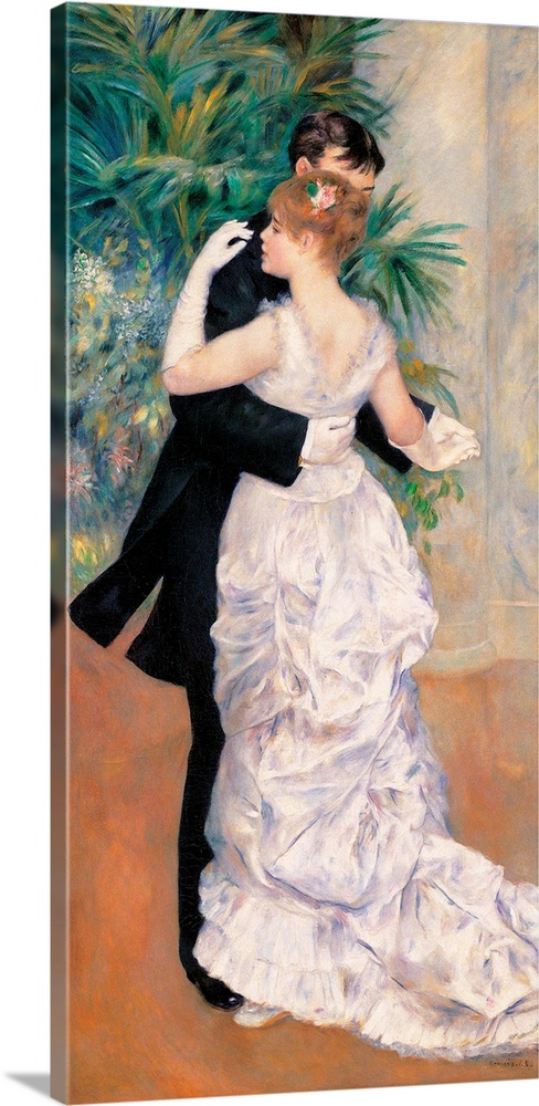 Large Gallery-Wrapped Canvas Wall Art Print 14 x 30 entitled City Dance, by Pierre-Auguste Renoir, 1883. Musee d'Orsay, Pa... Gallery-Wrapped Canvas entitled City Dance by Pierre-Auguste Renoir 1883. Musee dOrsay Paris France.  City Dance by Pierre-Auguste Renoir 1883 19th Century oil on canvas cm 180 x 90 - France Ile de France Paris Muse dOrsay RF. 1978-13. All. Dance city plant kentia palm pink white black green brown gloves long dress train skirt flounces. 235910.  Multiple sizes available.  Primary colors within this image include Black Gray Silver.  Made in USA.  Satisfaction guaranteed.  Inks used are latex-based and designed to last.  Canvas frames are built with farmed or reclaimed domestic pine or poplar wood.  Canvas is acid-free and 20 millimeters thick.