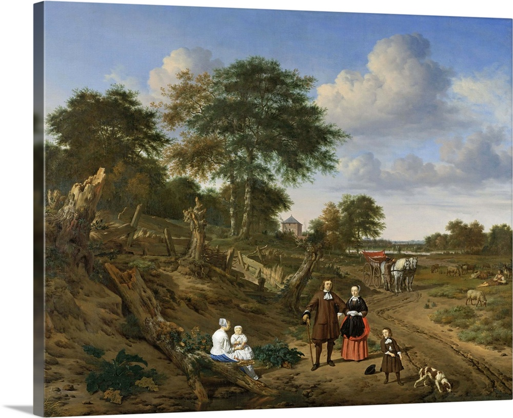 Large Solid-Faced Canvas Print Wall Art Print 30 x 24 entitled Couple in a Landscape, by Adriaen van de Velde, 1667 Solid-Faced Canvas Print entitled Couple in a Landscape, by Adriaen van de Velde, 1667.  Couple in a Landscape, by Adriaen van de Velde, 1667, Dutch painting, oil on canvas. This is a commissioned painting of an unknown family in a hilly forest landscape, with great attention paid to their costly clothing. The son has a dog on a leash, and in the background are a carriage and a shepherd with cattle.  Multiple sizes available.  Primary colors within this image include Light Gray, Dark Forest Green, Dark Navy Blue.  Made in USA.  All products come with a 365 day workmanship guarantee.  Archival-quality UV-resistant inks.  Featuring a proprietary design, our canvases produce the tightest corners without any bubbles, ripples, or bumps and will not warp or sag over time.  Canvas is handcrafted and made-to-order in the United States using high quality artist-grade canvas.