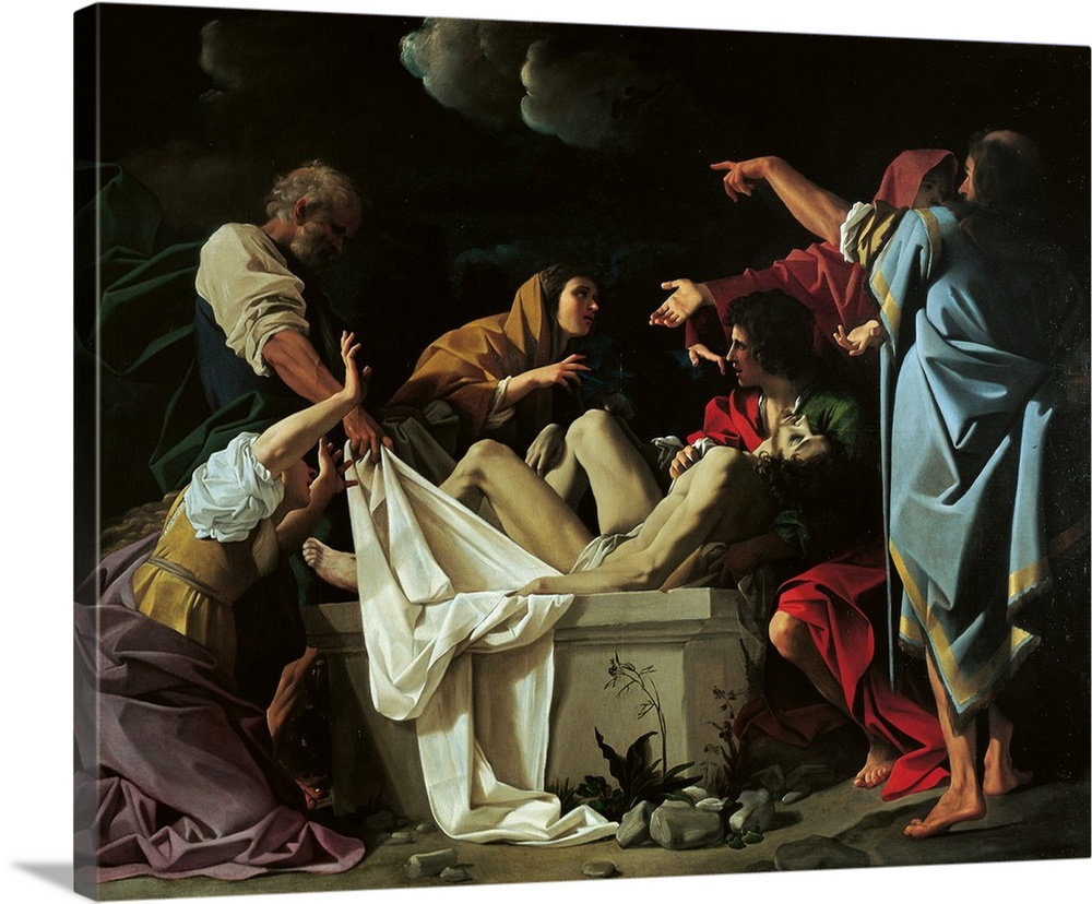 Large Solid-Faced Canvas Print Wall Art Print 30 x 24 entitled Deposition, By Bartolomeo Schedoni, C. 1613-1614. Parma, Italy Solid-Faced Canvas Print entitled Deposition, By Bartolomeo Schedoni, C. 1613-1614. Parma, Italy.  The Deposition, by Bartolomeo Schedoni, 1613 - 1614 about, 17th Century, oil on panel, cm 228 x 283 - Italy, Emilia Romagna, Parma, National Gallery. All. Tomb light shade dresses clothes garments white clouds shroud Jesus Christ dead body apostles Mary M.  Multiple sizes available.  Primary colors within this image include Plum, Black, Light Gray.  Made in the USA.  All products come with a 365 day workmanship guarantee.  Archival-quality UV-resistant inks.  Canvas is handcrafted and made-to-order in the United States using high quality artist-grade canvas.  Canvas depth is 1.25 and includes a finished backing with pre-installed hanging hardware.
