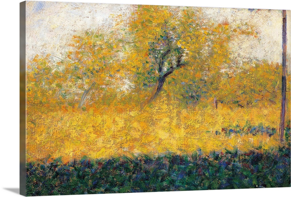 Large Solid-Faced Canvas Print Wall Art Print 30 x 20 entitled Edge of Wood, Springtime, by Georges Seurat, ca. 1882 - 188... Solid-Faced Canvas Print entitled Edge of Wood, Springtime, by Georges Seurat, ca. 1882 - 1883. Musee dOrsay, Paris.  Edge of Wood, Springtime, by Georges Seurat, 1882 - 1883 about, 19th Century, canvas, cm 16 x 25 - France, Ile de France, Paris, Muse dOrsay, RF1973-23. All. Wood spring tree yellow shadow. 273067 Everett CollectionMondadori Portfolio.  Multiple sizes available.  Primary colors within this image include Brown, Peach, White, Dark Forest Green.  Made in the USA.  Satisfaction guaranteed.  Inks used are latex-based and designed to last.  Archival inks prevent fading and preserve as much fine detail as possible with no over-saturation or color shifting.  Canvas is handcrafted and made-to-order in the United States using high quality artist-grade canvas.