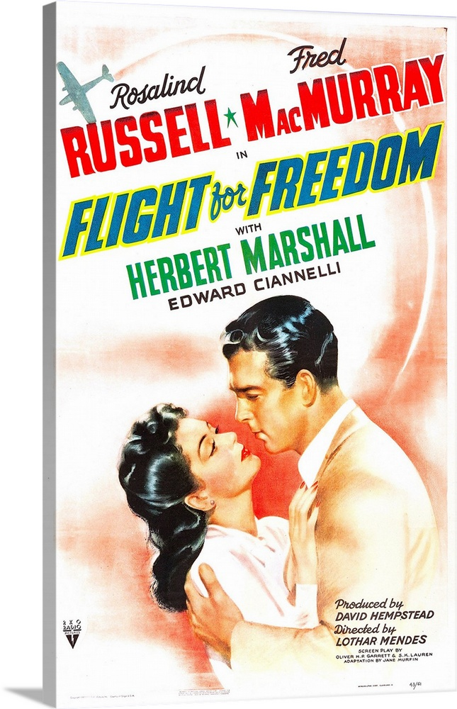 Large Solid-Faced Canvas Print Wall Art Print 24 x 36 entitled Flight For Freedom - Vintage Movie Poster Solid-Faced Canvas Print entitled Flight For Freedom - Vintage Movie Poster.  Multiple sizes available.  Primary colors within this image include Red, Light Yellow, White, Muted Blue.  Made in USA.  Satisfaction guaranteed.  Inks used are latex-based and designed to last.  Canvas depth is 1.25 and includes a finished backing with pre-installed hanging hardware.  Archival inks prevent fading and preserve as much fine detail as possible with no over-saturation or color shifting.