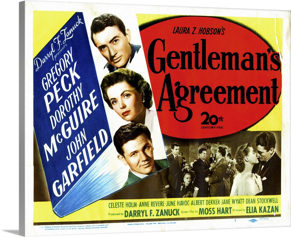 Large Solid-Faced Canvas Print Wall Art Print 30 x 24 entitled Gentleman's Agreement, 1947 Solid-Faced Canvas Print entitled Gentlemans Agreement, 1947.  Gentlemans Agreement, From Top, Gregory Peck, Dorothy Mcguire, John Garfield, Celeste Holm, 1947.  Multiple sizes available.  Primary colors within this image include Dark Red, Light Yellow, Black, White.  Made in USA.  All products come with a 365 day workmanship guarantee.  Archival-quality UV-resistant inks.  Canvas depth is 1.25 and includes a finished backing with pre-installed hanging hardware.  Archival inks prevent fading and preserve as much fine detail as possible with no over-saturation or color shifting.