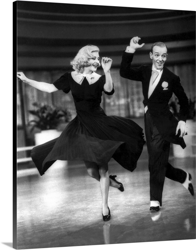 Large Solid-Faced Canvas Print Wall Art Print 24 x 30 entitled Ginger Rogers, Fred Astaire, Swing Time Solid-Faced Canvas Print entitled Ginger Rogers, Fred Astaire, Swing Time.  Multiple sizes available.  Primary colors within this image include Black, Silver.  Made in USA.  Satisfaction guaranteed.  Archival-quality UV-resistant inks.  Archival inks prevent fading and preserve as much fine detail as possible with no over-saturation or color shifting.  Featuring a proprietary design, our canvases produce the tightest corners without any bubbles, ripples, or bumps and will not warp or sag over time.