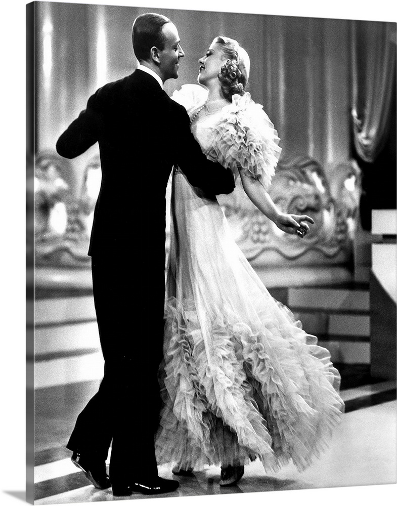 Large Solid-Faced Canvas Print Wall Art Print 24 x 30 entitled Ginger Rogers, Fred Astaire, Swing Time Solid-Faced Canvas Print entitled Ginger Rogers, Fred Astaire, Swing Time.  Multiple sizes available.  Primary colors within this image include Black, Gray, Silver.  Made in USA.  All products come with a 365 day workmanship guarantee.  Archival-quality UV-resistant inks.  Canvas is handcrafted and made-to-order in the United States using high quality artist-grade canvas.  Archival inks prevent fading and preserve as much fine detail as possible with no over-saturation or color shifting.