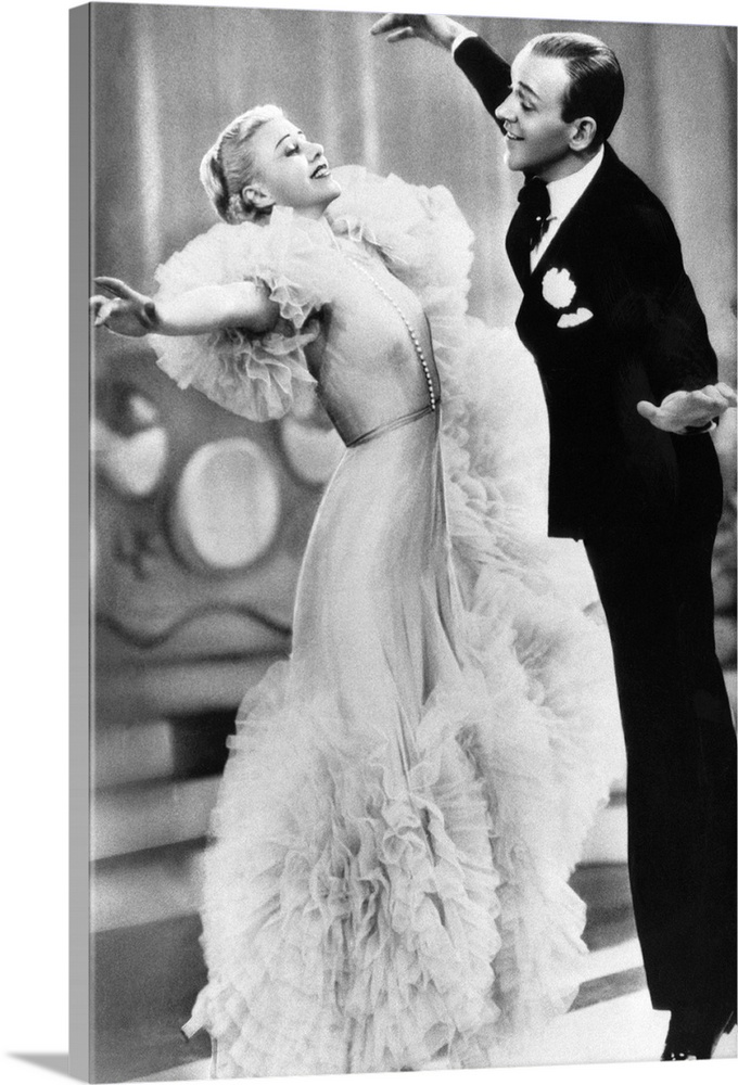 Large Solid-Faced Canvas Print Wall Art Print 20 x 30 entitled Ginger Rogers, Fred Astaire, Swing Time Solid-Faced Canvas Print entitled Ginger Rogers, Fred Astaire, Swing Time.  Multiple sizes available.  Primary colors within this image include Black, Silver.  Made in the USA.  All products come with a 365 day workmanship guarantee.  Inks used are latex-based and designed to last.  Canvas is handcrafted and made-to-order in the United States using high quality artist-grade canvas.  Archival inks prevent fading and preserve as much fine detail as possible with no over-saturation or color shifting.