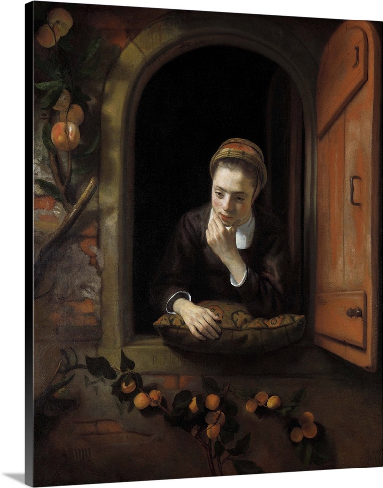 Large Gallery-Wrapped Canvas Wall Art Print 19 x 24 entitled Girl at a Window, by Nicolaes Maes, 1650-1660 Gallery-Wrapped Canvas entitled Girl at a Window, by Nicolaes Maes, 1650-1660.  Girl at a Window, by Nicolaes Maes, 1650-1660, Dutch painting, oil on canvas. Also known asThe Daydreamer. The girl is leaning on a pillow lying in the window, she has her left hand on chin. Nicolaes Maes studied with Rembrandt.  Multiple sizes available.  Primary colors within this image include Brown, Black, Silver.  Made in USA.  Satisfaction guaranteed.  Inks used are latex-based and designed to last.  Canvas frames are built with farmed or reclaimed domestic pine or poplar wood.  Canvases have a UVB protection built in to protect against fading and moisture and are designed to last for over 100 years.
