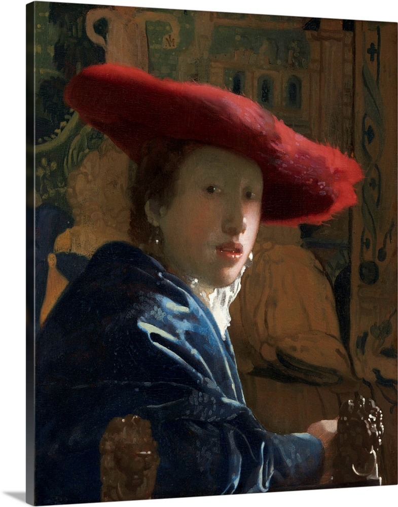 Large Solid-Faced Canvas Print Wall Art Print 24 x 30 entitled Girl with the Red Hat, by Johannes Vermeer, c. 1665-66 Solid-Faced Canvas Print entitled Girl with the Red Hat, by Johannes Vermeer, c. 1665-66.  Girl with the Red Hat, by Johannes Vermeer, c. 1665-66, Dutch painting, oil on canvas. Portrayed with spontaneity and informality, the girl makes her eye contact with the viewer.  Multiple sizes available.  Primary colors within this image include Black, Silver, Dark Forest Green, Gray Blue.  Made in USA.  All products come with a 365 day workmanship guarantee.  Inks used are latex-based and designed to last.  Archival inks prevent fading and preserve as much fine detail as possible with no over-saturation or color shifting.  Featuring a proprietary design, our canvases produce the tightest corners without any bubbles, ripples, or bumps and will not warp or sag over time.
