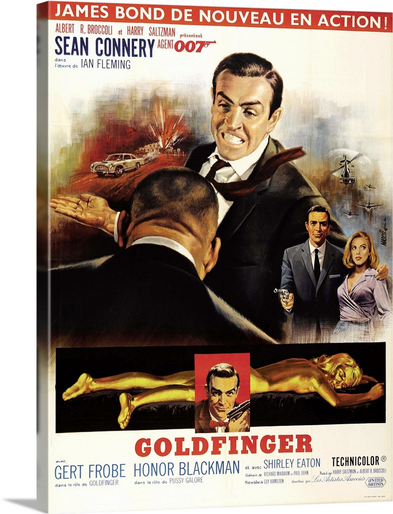 Large Solid-Faced Canvas Print Wall Art Print 18 x 24 entitled Goldfinger, 1964 Solid-Faced Canvas Print entitled Goldfinger, 1964.  Goldfinger, Top From Left Harold Sakata Back To Camera, Sean Connery, Sean Connery, Honor Blackman, Bottom Shirley Eaton, Sean Connery Insert, 1964.  Multiple sizes available.  Primary colors within this image include Pink, Light Yellow, Black, White.  Made in the USA.  All products come with a 365 day workmanship guarantee.  Archival-quality UV-resistant inks.  Archival inks prevent fading and preserve as much fine detail as possible with no over-saturation or color shifting.  Featuring a proprietary design, our canvases produce the tightest corners without any bubbles, ripples, or bumps and will not warp or sag over time.