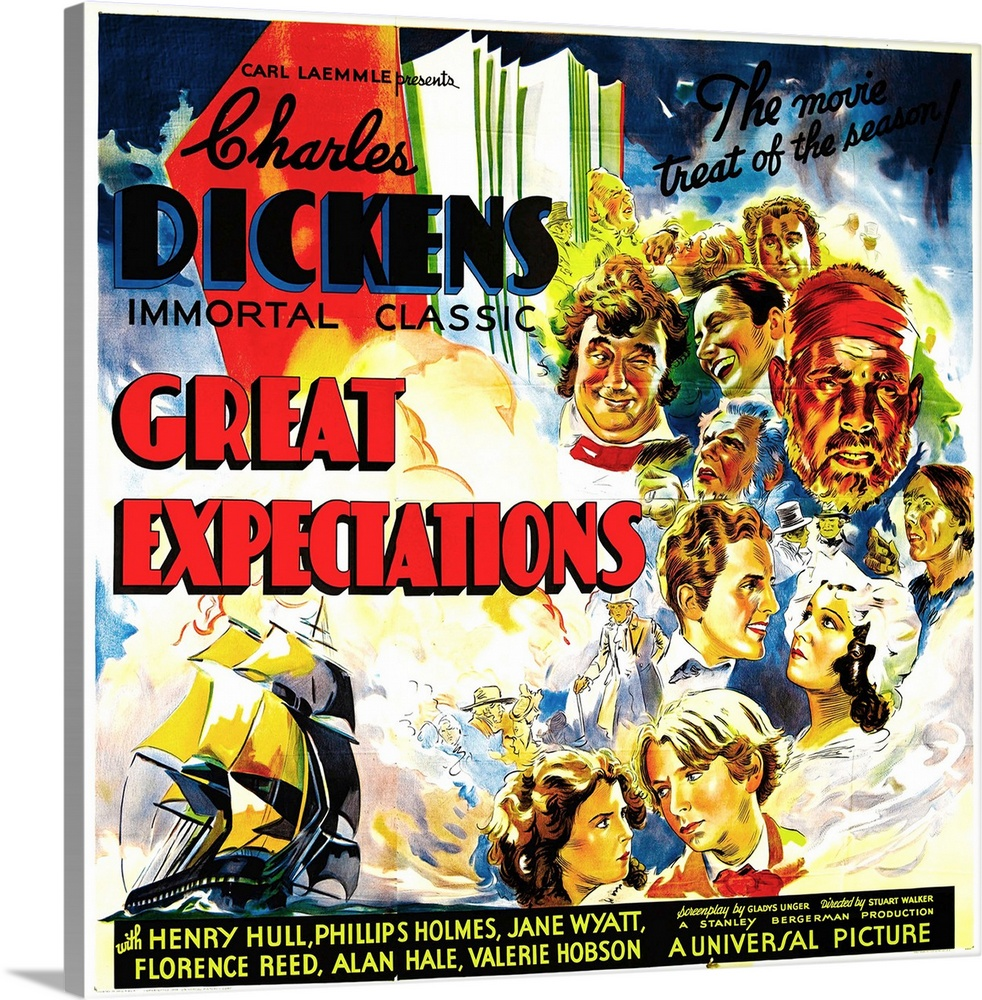 Large Gallery-Wrapped Canvas Wall Art Print 16 x 16 entitled Great Expectations - Vintage Movie Poster Gallery-Wrapped Canvas entitled Great Expectations - Vintage Movie Poster.  Multiple sizes available.  Primary colors within this image include Red Yellow Black White.  Made in USA.  All products come with a 365 day workmanship guarantee.  Inks used are latex-based and designed to last.  Canvases have a UVB protection built in to protect against fading and moisture and are designed to last for over 100 years.  Canvas is designed to prevent fading.