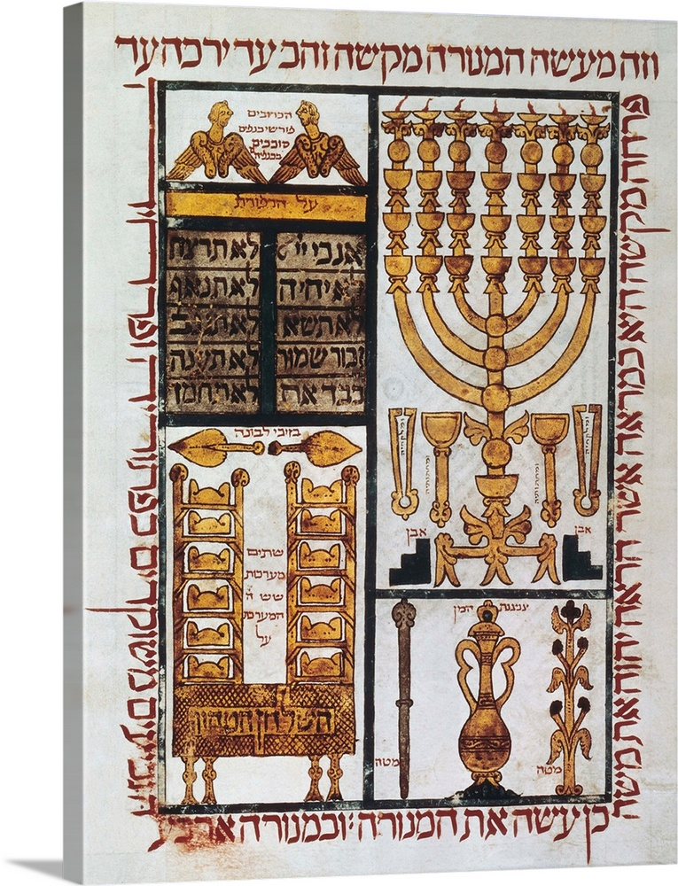 Large Solid-Faced Canvas Print Wall Art Print 18 x 24 entitled Hebrew Bible, 1299. Ark of the Covenant open showing Tablet... Solid-Faced Canvas Print entitled Hebrew Bible, 1299. Ark of the Covenant open showing Tablets of the Law.  Hebrew Bible 1299 located in Perpignan Kingdom of Mallorca. Folio 13. Representation of the Ark of the Covenant open showing the Tablets of the Law, two cherubim and objects of the Temple of Jerusalem Solomons Temple. Miniature Painting. FRANCE. Paris. National Library. -.  Multiple sizes available.  Primary colors within this image include Peach, Dark Gray, Silver.  Made in the USA.  Satisfaction guaranteed.  Archival-quality UV-resistant inks.  Archival inks prevent fading and preserve as much fine detail as possible with no over-saturation or color shifting.  Featuring a proprietary design, our canvases produce the tightest corners without any bubbles, ripples, or bumps and will not warp or sag over time.