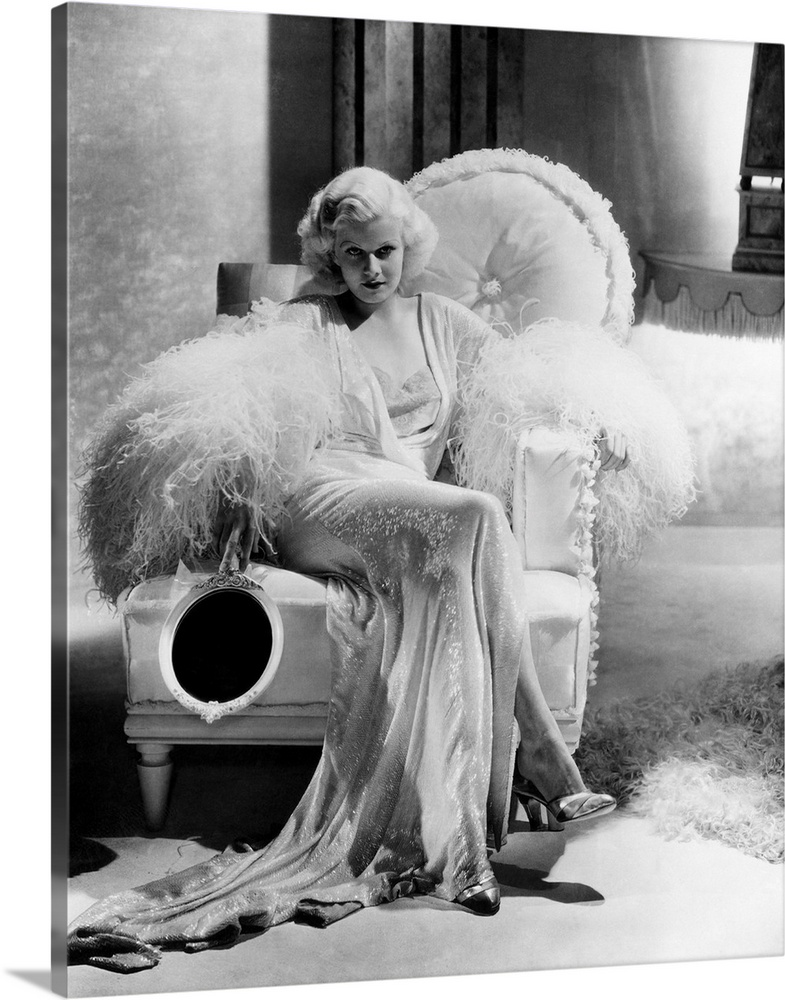 Solid-Faced Canvas Print Wall Art entitled Jean Harlow in Dinner At Eight -