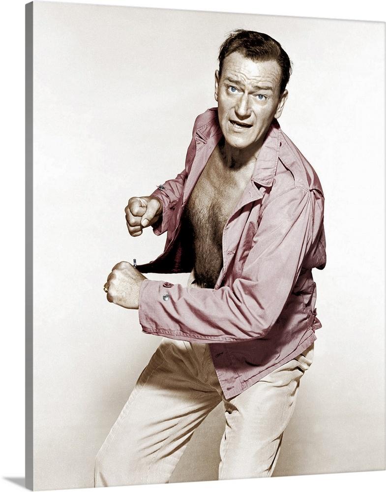 Solid-Faced Canvas Print Wall Art entitled John Wayne in Big Jim McLain -