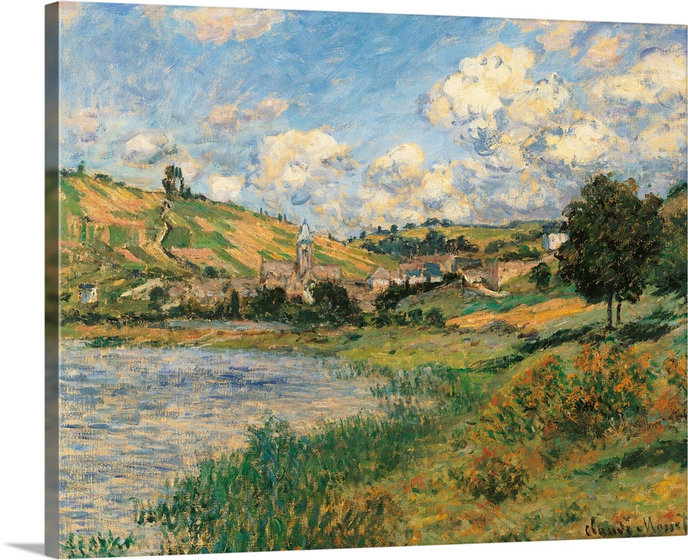 Large Solid-Faced Canvas Print Wall Art Print 30 x 24 entitled Landscape. Vetheuil, by Claude Monet, 1879. Musee d'Orsay, ... Solid-Faced Canvas Print entitled Landscape. Vetheuil, by Claude Monet, 1879. Musee dOrsay, Paris, France.  Landscape. Vtheuil, by Claude Monet, 1879, 19th Century, oil on canvas, cm 60 x 73,5 - France, Ile de France, Paris, Muse dOrsay, RF2639. All. Landscape Vtheuil azure light blue green trees clouds shadows bank field houses grass lawn. 246684 Everett Col.  Multiple sizes available.  Primary colors within this image include Dark Yellow, Peach, Dark Gray, Light Gray Blue.  Made in USA.  All products come with a 365 day workmanship guarantee.  Inks used are latex-based and designed to last.  Archival inks prevent fading and preserve as much fine detail as possible with no over-saturation or color shifting.  Canvas is handcrafted and made-to-order in the United States using high quality artist-grade canvas.