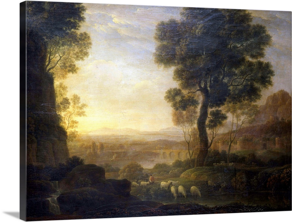 Large Solid-Faced Canvas Print Wall Art Print 24 x 18 entitled Landscape With Flock Of Sheep At The River. By School Of Cl... Solid-Faced Canvas Print entitled Landscape With Flock Of Sheep At The River. By School Of Claude Lorrain, 17th C..  Landscape with Flock to the River Paesaggio con gregge al fiume, school of Claude Gell..e known as Lorrain, 17th Century, oil on canvas, 74 x 98 cm - Italy, Lombardy, Milan, Brera Art Gallery. Whole artwork view. Rural landscape representing a shepherd with a flock of sheeps grazing along the bed of a river between two large trees in the foreground, on the left, from a high rock falls a small waterfall nearby, an aqueduct and some buildings a cloudy sky with soft colours fills the upper side of the painting. - Milan, Italy - 2000Francesco TanasiElectaMondadori PortfolioAuthorization required for not editorial use. Please contact Mondadori PortfolioMondadori Portfolio courtesy of MiBAC - 2000Francesco TanasiElectaMondadori PortfolioEverett Collection - 1855990.  Multiple sizes available.  Primary colors within this image include Brown, Peach, Dark Gray, Light Gray Blue.  Made in USA.  Satisfaction guaranteed.  Inks used are latex-based and designed to last.  Archival inks prevent fading and preserve as much fine detail as possible with no over-saturation or color shifting.  Featuring a proprietary design, our canvases produce the tightest corners without any bubbles, ripples, or bumps and will not warp or sag over time.