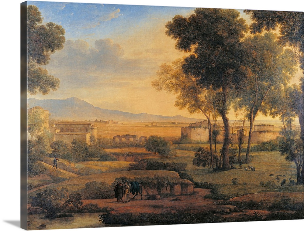 Large Solid-Faced Canvas Print Wall Art Print 40 x 30 entitled Landscape With Ruins And Pilgrims, 1810. Brera Gallery, Mil... Solid-Faced Canvas Print entitled Landscape With Ruins And Pilgrims, 1810. Brera Gallery, Milan, Italy.  Landscape with Ruins and Pilgrims, by Rosa Mezzera, 1810, 19th Century, oil on canvas, cm 100 x 133 - Italy, Lombardy, Milan, Brera Academy of Fine Art Collections, on deposit at the Camera dei Deputati. All. Countryside trees figures houses ruins gilded.  Multiple sizes available.  Primary colors within this image include Peach, Sky Blue, Dark Forest Green.  Made in the USA.  All products come with a 365 day workmanship guarantee.  Inks used are latex-based and designed to last.  Canvas is handcrafted and made-to-order in the United States using high quality artist-grade canvas.  Featuring a proprietary design, our canvases produce the tightest corners without any bubbles, ripples, or bumps and will not warp or sag over time.