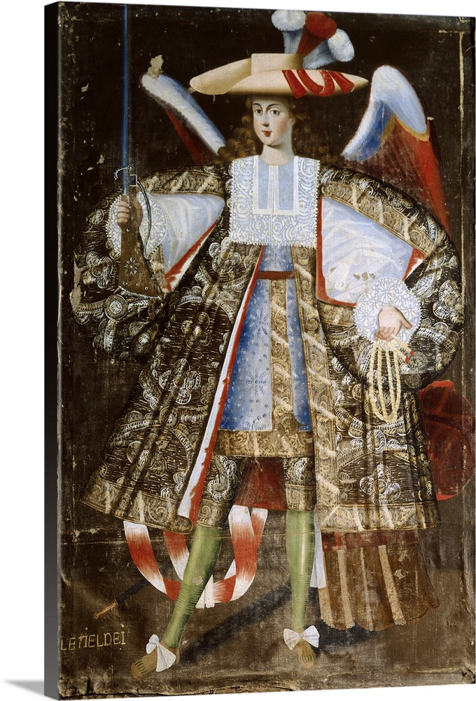 Large Solid-Faced Canvas Print Wall Art Print 20 x 30 entitled Letiel Dei. Angel Arcabucero, in Military Clothing with Swo... Solid-Faced Canvas Print entitled Letiel Dei. Angel Arcabucero, in Military Clothing with Sword. 17th c..  BOLIVIA. Calamarca. Parish Church. Letiel Dei, angel arcabucero dressed in militar clothing, made for parish church of La Paz, 17th century. Baroque art. Oil on canvas. -.  Multiple sizes available.  Primary colors within this image include Dark Red, Black, Gray, White.  Made in the USA.  All products come with a 365 day workmanship guarantee.  Archival-quality UV-resistant inks.  Archival inks prevent fading and preserve as much fine detail as possible with no over-saturation or color shifting.  Canvas is handcrafted and made-to-order in the United States using high quality artist-grade canvas.