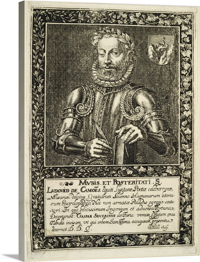 Large Solid-Faced Canvas Print Wall Art Print 18 x 24 entitled Luis Vaz de Camoes (1524-1580). Portuguese Renaissance writ... Solid-Faced Canvas Print entitled Luis Vaz de Camoes 1524-1580. Portuguese Renaissance writer and poet.  Camoes or Camoens, Luis Vaz de 1524-1580. Portuguese Renaissance writer and poet. Engraving dated on 1624 by A. Paulus, commissioned by Gaspar Severim de Faria. Camoes is represented in military clothing, with Os Lusiadas The Lusiads in his hands. On top right, the family coat of arms. Renaissance art. Etching. SPAIN. Madrid. National Library. -.  Multiple sizes available.  Primary colors within this image include Black, Gray, Silver.  Made in the USA.  Satisfaction guaranteed.  Archival-quality UV-resistant inks.  Canvas is handcrafted and made-to-order in the United States using high quality artist-grade canvas.  Canvas depth is 1.25 and includes a finished backing with pre-installed hanging hardware.