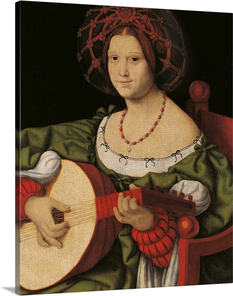 Large Gallery-Wrapped Canvas Wall Art Print 16 x 20 entitled Lute Player, By Andrea Solario, 1520. Palazzo Barberini, Rome... Gallery-Wrapped Canvas entitled Lute Player, By Andrea Solario, 1520. Palazzo Barberini, Rome, Italy.  The Lute Player, by Andrea Solario or Solari, 1520 about, 16th Century, tempera and oil on canvas, cm 65 x 52 - Italy, Lazio, Rome, National Gallery of Ancient Art, Palazzo Barberini. All. Woman green dress clothes hair hairnet red armchair lute necklac.  Multiple sizes available.  Primary colors within this image include Dark Red, Peach, Black.  Made in USA.  All products come with a 365 day workmanship guarantee.  Inks used are latex-based and designed to last.  Canvas is designed to prevent fading.  Canvas frames are built with farmed or reclaimed domestic pine or poplar wood.
