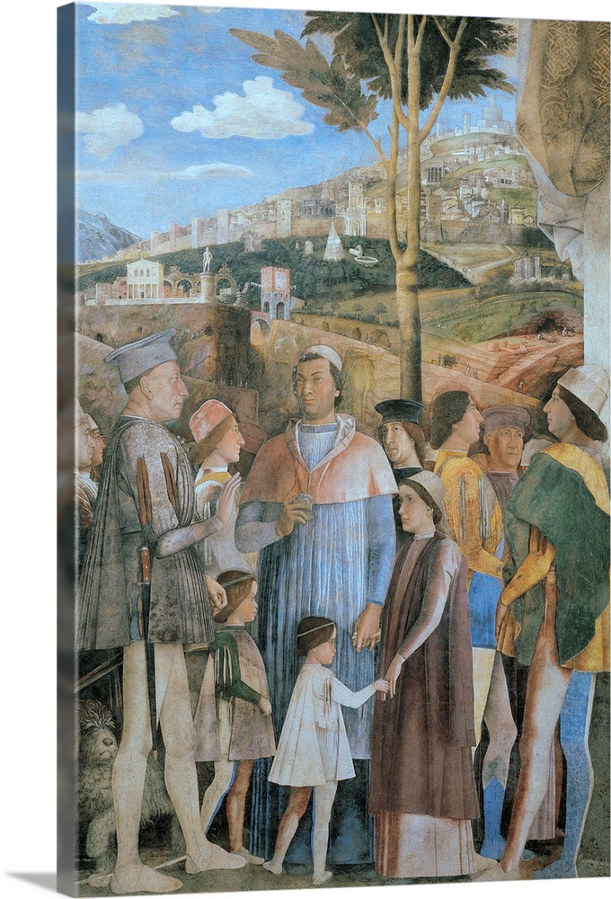 Large Solid-Faced Canvas Print Wall Art Print 20 x 30 entitled Meeting, by Andrea Mantegna, c. 1465-1474. Camera degli Spo... Solid-Faced Canvas Print entitled Meeting, by Andrea Mantegna, c. 1465-1474. Camera degli Sposi, Ducal Palace, Mantua.  Mantegna Andrea, Decoration of the Camera degli Sposi Camera Picta, 1465 - 1474, 15th Century, fresco and dry tempera, Italy, Lombardy, Mantua, Ducal Palace 50006 Everett CollectionMondadori Portfolio.  Multiple sizes available.  Primary colors within this image include Black, Gray, Pale Blue.  Made in the USA.  Satisfaction guaranteed.  Archival-quality UV-resistant inks.  Canvas is handcrafted and made-to-order in the United States using high quality artist-grade canvas.  Archival inks prevent fading and preserve as much fine detail as possible with no over-saturation or color shifting.
