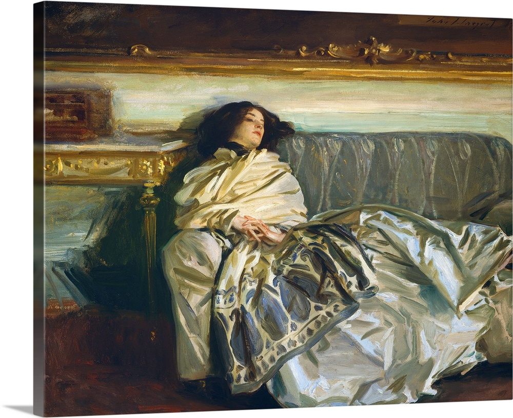 Large Gallery-Wrapped Canvas Wall Art Print 24 x 20 entitled Nonchaloir, by John Singer Sargent, 1911, American painting Gallery-Wrapped Canvas entitled Nonchaloir by John Singer Sargent 1911 American painting.  Nonchaloir Repose by John Singer Sargent 1911 American painting oil on canvas. Sargent painted his niece Rose-Marie Ormond Michel in a casual pose. His masterly brushstrokes delineate his nieces fingers hair cashmere shawl and satin skirt.  Multiple sizes available.  Primary colors within this image include Brown Dark Gray Silver.  Made in the USA.  Satisfaction guaranteed.  Archival-quality UV-resistant inks.  Canvases are stretched across a 1.5 inch thick wooden frame with easy-to-mount hanging hardware.  Canvas is designed to prevent fading.