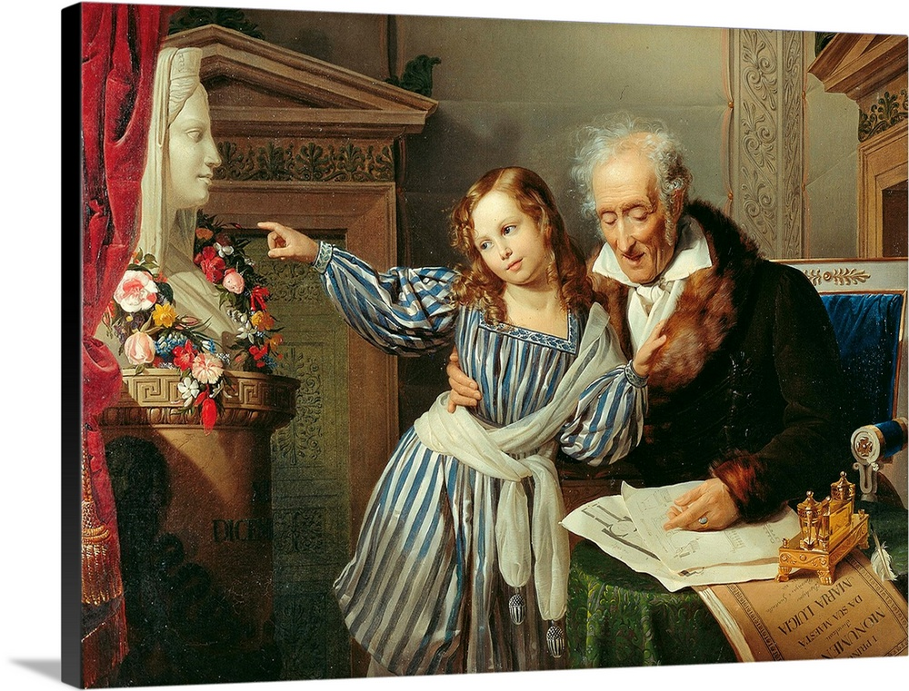 Large Solid-Faced Canvas Print Wall Art Print 24 x 18 entitled Old Man Showing His Little Niece the Herme of Maria Luigia,... Solid-Faced Canvas Print entitled Old Man Showing His Little Niece the Herme of Maria Luigia, by Giuseppe Molteni, 1830..  Old Man Showing His Little Niece the Herm of Maria Luigia, by Giuseppe Molteni, 1830, 19th Century, oil on canvas, cm 99,1 x 130 - Italy, Emilia Romagna, Parma, National Art Gallery. All. Grandfather old man elder man shirt dressing gown robe fur little g.  Multiple sizes available.  Primary colors within this image include Brown, Black, Gray, White.  Made in USA.  Satisfaction guaranteed.  Archival-quality UV-resistant inks.  Featuring a proprietary design, our canvases produce the tightest corners without any bubbles, ripples, or bumps and will not warp or sag over time.  Canvas is handcrafted and made-to-order in the United States using high quality artist-grade canvas.