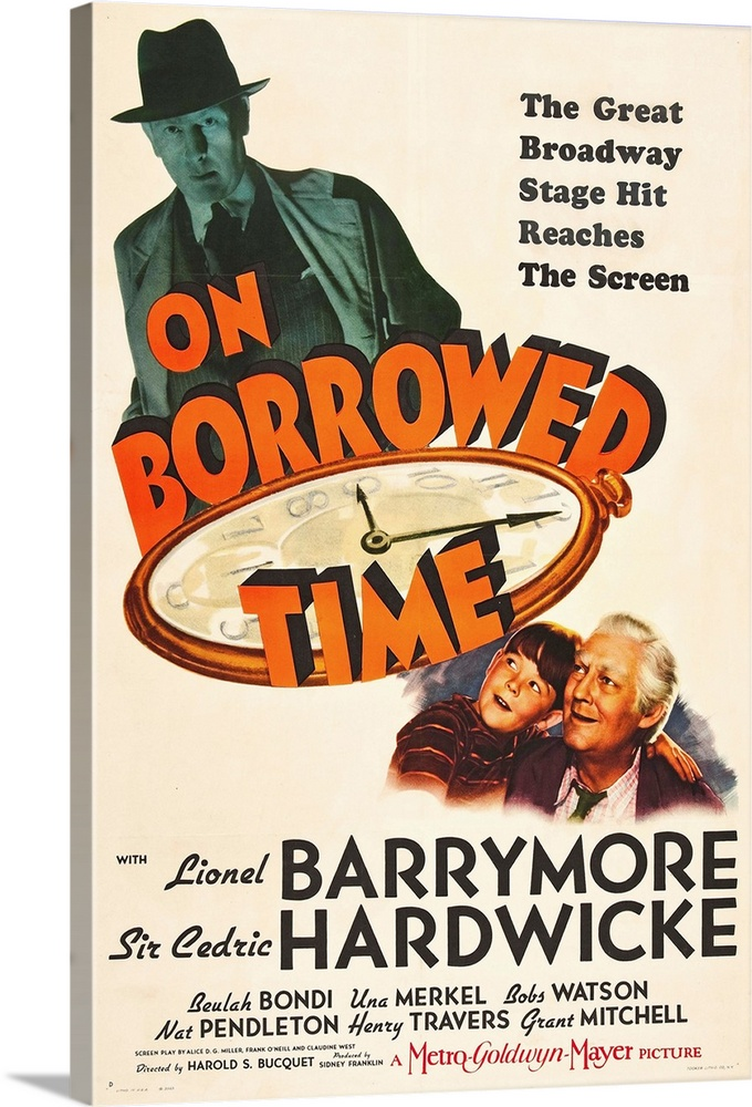 Large Solid-Faced Canvas Print Wall Art Print 20 x 30 entitled On Borrowed Time - Vintage Movie Poster Solid-Faced Canvas Print entitled On Borrowed Time - Vintage Movie Poster.  Multiple sizes available.  Primary colors within this image include Red, Orange, Dark Red, White.  Made in the USA.  All products come with a 365 day workmanship guarantee.  Inks used are latex-based and designed to last.  Canvas depth is 1.25 and includes a finished backing with pre-installed hanging hardware.  Canvas is handcrafted and made-to-order in the United States using high quality artist-grade canvas.