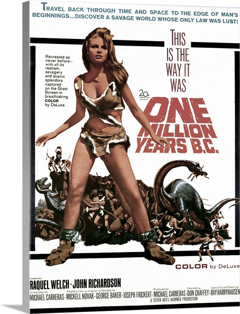 Large Solid-Faced Canvas Print Wall Art Print 18 x 24 entitled One Million Years B.C. - Vintage Movie Poster Solid-Faced Canvas Print entitled One Million Years B.C. - Vintage Movie Poster.  OLYMPUS DIGITAL CAMERA.  Multiple sizes available.  Primary colors within this image include Pink, Black, Gray, White.  Made in USA.  Satisfaction guaranteed.  Archival-quality UV-resistant inks.  Canvas is handcrafted and made-to-order in the United States using high quality artist-grade canvas.  Featuring a proprietary design, our canvases produce the tightest corners without any bubbles, ripples, or bumps and will not warp or sag over time.