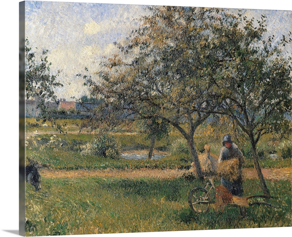 Large Solid-Faced Canvas Print Wall Art Print 30 x 24 entitled Orchard, the Wheelbarrow, by Camille Pissarro, ca. 1881. Mu... Solid-Faced Canvas Print entitled Orchard, the Wheelbarrow, by Camille Pissarro, ca. 1881. Musee dOrsay, Paris, France.  The Orchard, the Wheelbarrow, by Camille Pissarro, 1881 about, 19th Century, oil on canvas, cm 54 x 65 - France, Ile de France, Paris, Muse dOrsay, RF2734. All. Woman in an orchard garden wheelbarrow landscape trees shadows field green houses. 246299 Ev.  Multiple sizes available.  Primary colors within this image include Black, Gray, White.  Made in the USA.  Satisfaction guaranteed.  Inks used are latex-based and designed to last.  Featuring a proprietary design, our canvases produce the tightest corners without any bubbles, ripples, or bumps and will not warp or sag over time.  Canvas is handcrafted and made-to-order in the United States using high quality artist-grade canvas.