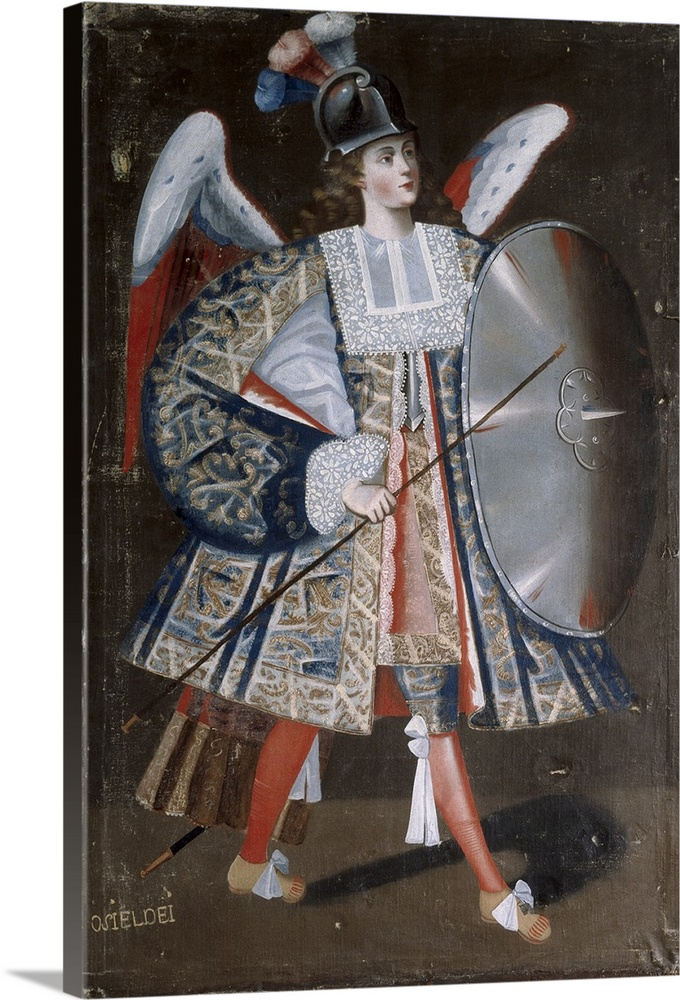 Large Solid-Faced Canvas Print Wall Art Print 20 x 30 entitled Osiel Dei, Angel Arcabucero, in Military Clothing with and ... Solid-Faced Canvas Print entitled Osiel Dei, Angel Arcabucero, in Military Clothing with and Shield. 17th c..  BOLIVIA. Calamarca. Parish Church. Osiel Dei, angel arcabucero dressed in militar clothing wearing a helmet and a adarga, made for parish church of La Paz, 17th century. Baroque art. Oil on canvas. -.  Multiple sizes available.  Primary colors within this image include Dark Red, Black, Light Gray.  Made in USA.  Satisfaction guaranteed.  Inks used are latex-based and designed to last.  Featuring a proprietary design, our canvases produce the tightest corners without any bubbles, ripples, or bumps and will not warp or sag over time.  Canvas depth is 1.25 and includes a finished backing with pre-installed hanging hardware.