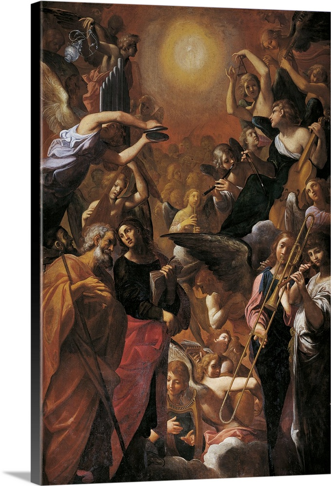 Large Gallery-Wrapped Canvas Wall Art Print 15 x 24 entitled Paradise, by Ludovico Carracci, 1616. San Paolo Maggiore Chur... Gallery-Wrapped Canvas entitled Paradise, by Ludovico Carracci, 1616. San Paolo Maggiore Church, Bologna, Italy.  Paradise, by Ludovico Carracci, 1616, 17th Century, oil on canvas, cm 370 x 245 - Italy, Emilia Romagna, Bologna, San Paolo Maggiore church. All. Cloth light sun central male figures angels musicians musical instruments cymbal harp lyre organ viola trumpe.  Multiple sizes available.  Primary colors within this image include Brown, Black, Light Gray.  Made in the USA.  All products come with a 365 day workmanship guarantee.  Archival-quality UV-resistant inks.  Canvases are stretched across a 1.5 inch thick wooden frame with easy-to-mount hanging hardware.  Canvas frames are built with farmed or reclaimed domestic pine or poplar wood.