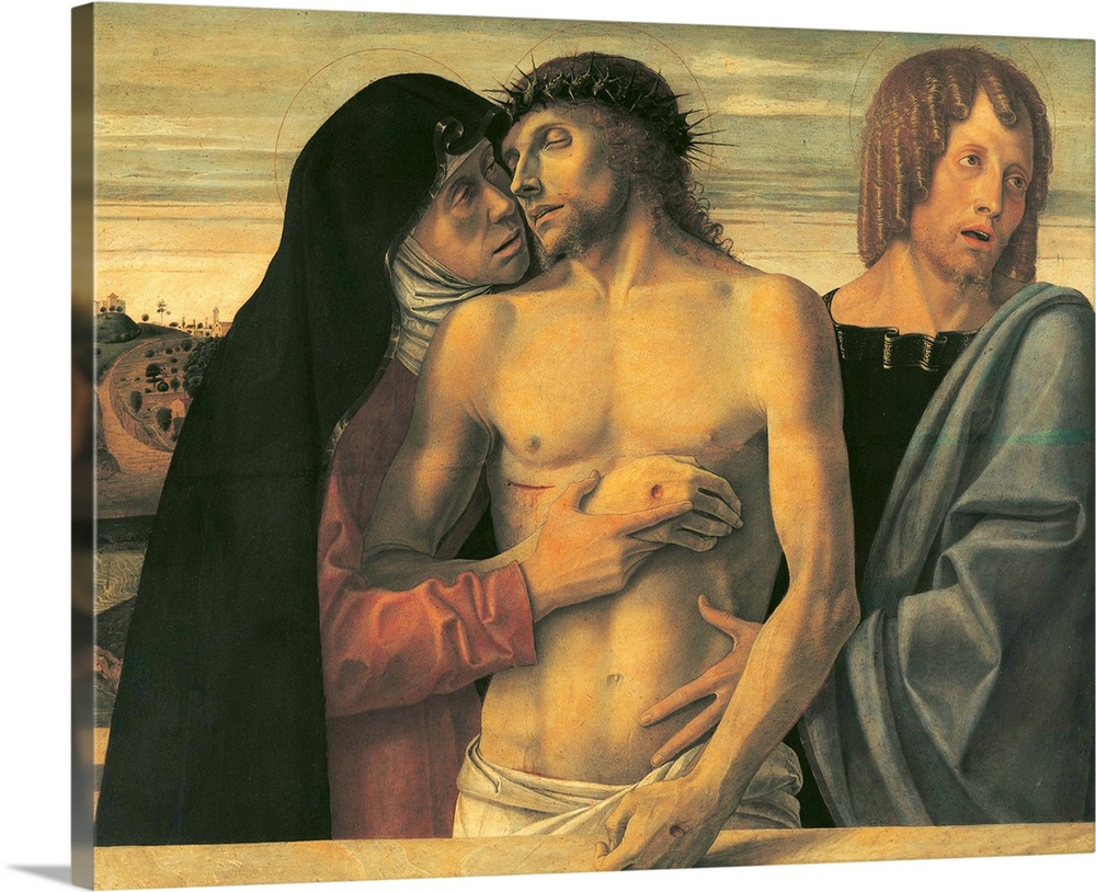 Solid-Faced Canvas Print Wall Art entitled Pieta, by Giovanni Bellini, c. 1465.