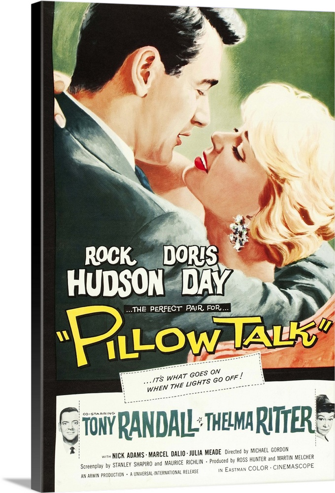 Large Gallery-Wrapped Canvas Wall Art Print 20 x 30 entitled Pillow Talk - Vintage Movie Poster Gallery-Wrapped Canvas entitled Pillow Talk - Vintage Movie Poster.  PILLOW TALK, top from left Rock Hudson, Doris Day, bottom from left Tony Randall, Thelma Ritter, 1959.  Multiple sizes available.  Primary colors within this image include Peach, Light Yellow, Dark Gray, White.  Made in USA.  Satisfaction guaranteed.  Inks used are latex-based and designed to last.  Canvas is acid-free and 20 millimeters thick.  Museum-quality, artist-grade canvas mounted on sturdy wooden stretcher bars 1.5 thick.  Comes ready to hang.