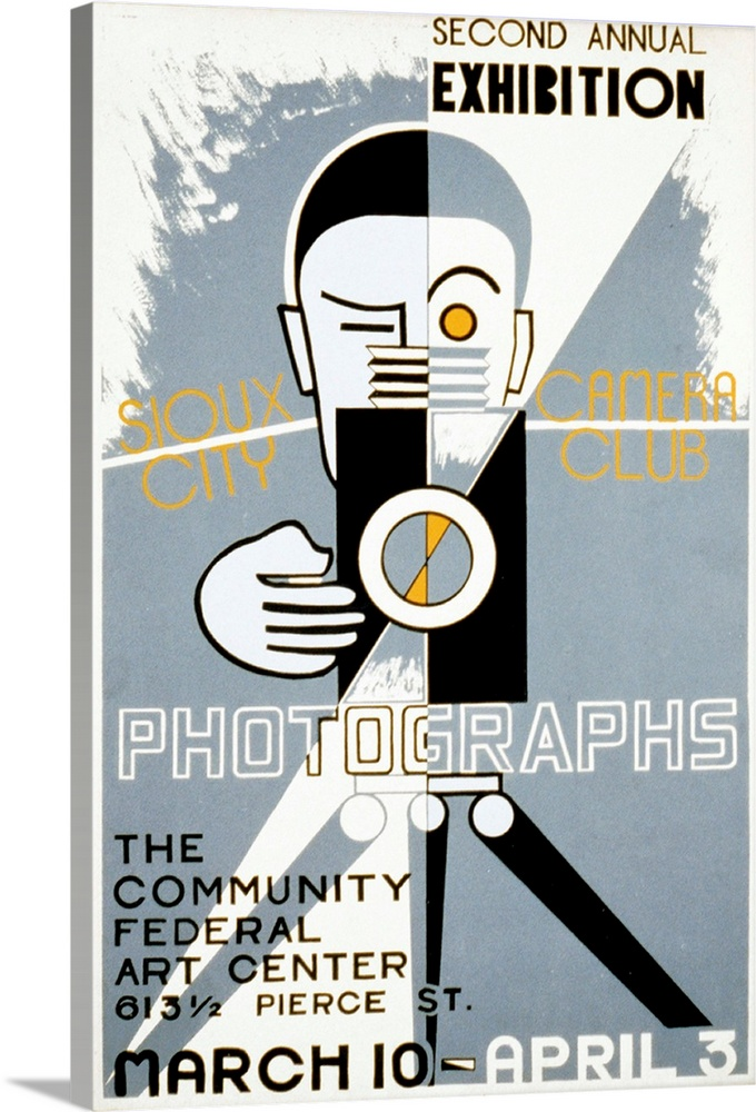 Large Solid-Faced Canvas Print Wall Art Print 20 x 30 entitled Poster for the Sioux City Camera Club's second annual exhib... Solid-Faced Canvas Print entitled Poster for the Sioux City Camera Clubs second annual exhibition of photographs, 1936-39.  Multiple sizes available.  Primary colors within this image include Brown, Peach, Black, White.  Made in USA.  All products come with a 365 day workmanship guarantee.  Archival-quality UV-resistant inks.  Featuring a proprietary design, our canvases produce the tightest corners without any bubbles, ripples, or bumps and will not warp or sag over time.  Canvas is handcrafted and made-to-order in the United States using high quality artist-grade canvas.