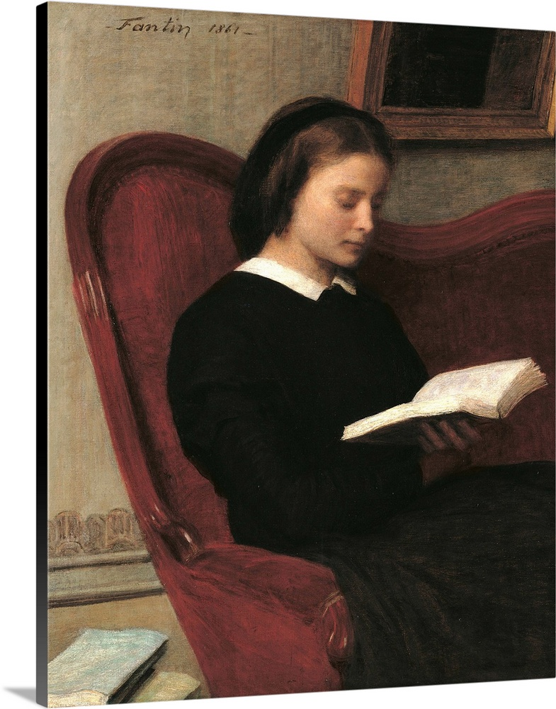 Large Solid-Faced Canvas Print Wall Art Print 24 x 30 entitled Reader (Marie, the Artists Sister), by Henri Fantin-Latour,... Solid-Faced Canvas Print entitled Reader Marie, the Artists Sister, by Henri Fantin-Latour, 1861. Musee dOrsay, Paris.  The Reader Marie Fantin Latour, the Artists Sister, by Henri Fantin-Latour, 1861, 19th Century, oil on canvas, cm 100 x 83 - France, Ile de France, Paris, Muse dOrsay. All. Reader Marie Fantin Latour the artists sister book small sofa brown room paintin.  Multiple sizes available.  Primary colors within this image include Black, Gray, White.  Made in USA.  All products come with a 365 day workmanship guarantee.  Archival-quality UV-resistant inks.  Canvas is handcrafted and made-to-order in the United States using high quality artist-grade canvas.  Canvas depth is 1.25 and includes a finished backing with pre-installed hanging hardware.
