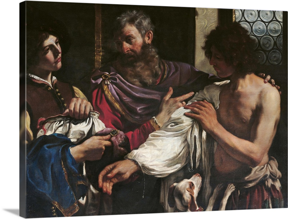 Large Gallery-Wrapped Canvas Wall Art Print 24 x 18 entitled Return Of The Prodigal Son, By Il Guercino, 1627-1628. Rome, ... Gallery-Wrapped Canvas entitled Return Of The Prodigal Son, By Il Guercino, 1627-1628. Rome, Italy.  The Return of the Prodigal Son, by Giovan Francesco Barbieri known as il Guercino, 1627 - 1628, 17th Century, oil on canvas, cm 125 x 163 - Italy, Lazio, Rome, Borghese Gallery. All. Father son return dog ring recognise window glass circles clothes servan.  Multiple sizes available.  Primary colors within this image include Dark Red, Black, Gray, Silver.  Made in USA.  All products come with a 365 day workmanship guarantee.  Inks used are latex-based and designed to last.  Canvases have a UVB protection built in to protect against fading and moisture and are designed to last for over 100 years.  Canvases are stretched across a 1.5 inch thick wooden frame with easy-to-mount hanging hardware.