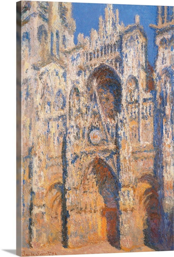 Large Solid-Faced Canvas Print Wall Art Print 20 x 30 entitled Rouen Cathedral, Morning Sun, Harmony in Blue, by Claude Mo... Solid-Faced Canvas Print entitled Rouen Cathedral, Morning Sun, Harmony in Blue, by Claude Monet, 1893. Musee dOrsay.  Rouen Cathedral, Morning Sun, Harmony in Blue, by Claude Monet, 1893, 19th Century, oil on canvas, cm 91 x 63 - France, Ile de France, Paris, Muse dOrsay, RF2000. All. Cathedral Rouen morning faade tower light grey azure light blue church door shadows. 2.  Multiple sizes available.  Primary colors within this image include Peach, Dark Gray, Silver, Gray Blue.  Made in the USA.  Satisfaction guaranteed.  Archival-quality UV-resistant inks.  Archival inks prevent fading and preserve as much fine detail as possible with no over-saturation or color shifting.  Canvas is handcrafted and made-to-order in the United States using high quality artist-grade canvas.