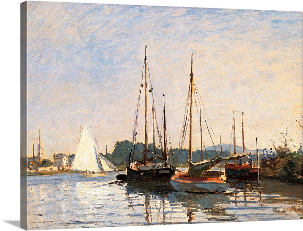 Large Solid-Faced Canvas Print Wall Art Print 40 x 30 entitled Sailing Boats at Argenteuil, by Claude Monet, 1872 - 1873. ... Solid-Faced Canvas Print entitled Sailing Boats at Argenteuil, by Claude Monet, 1872 - 1873. Musee dOrsay, Paris, France.  Sailing Boats at Argenteuil, by Claude Monet, 1872 - 1873, 19th Century, oil on canvas, cm 49 x 65 - France, Ile de France, Paris, Muse dOrsay, RF2437. All. Sailing boats at Argenteuil basin azure light blue light blue shadow boats bank water sail white.  Multiple sizes available.  Primary colors within this image include Black, Gray, Silver.  Made in the USA.  All products come with a 365 day workmanship guarantee.  Inks used are latex-based and designed to last.  Featuring a proprietary design, our canvases produce the tightest corners without any bubbles, ripples, or bumps and will not warp or sag over time.  Canvas is handcrafted and made-to-order in the United States using high quality artist-grade canvas.